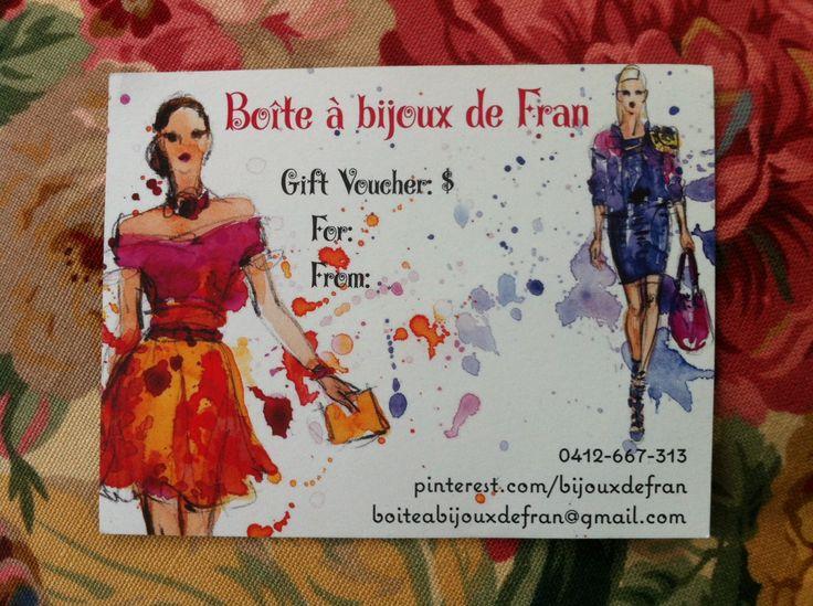 """""""Boite a bijoux de Fran"""" gift vouchers are now available!"""