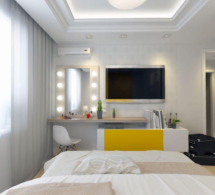 Спальня. Телевизор. Зеркало с подсветкой. Дизайн-проект. Бежевый пол.