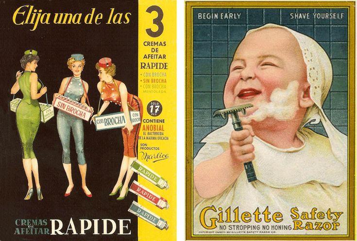 Crema de afeitar Rapide y Cuchillas Gillette, años 50