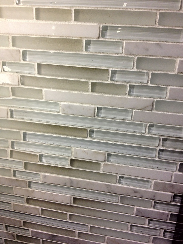 Kitchen backsplash tile love the neutral green gray for Small glass backsplash tiles