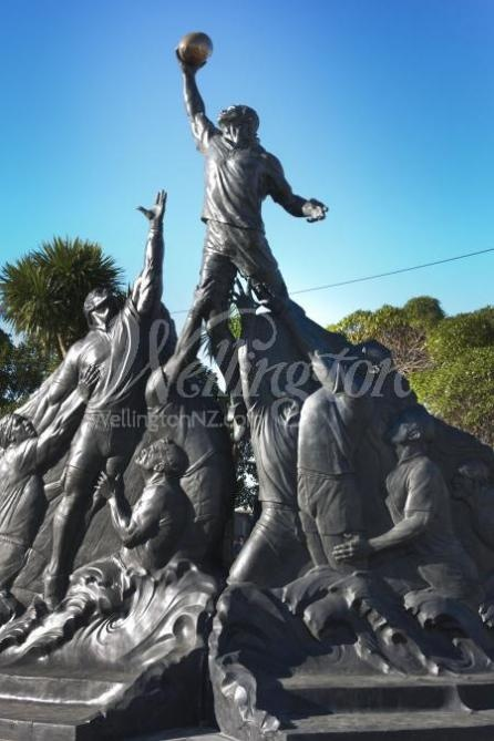 Rugby World Cup sculpture in Wellington, New Zealand.