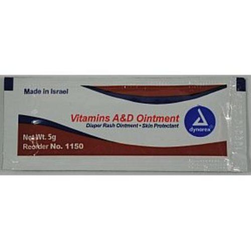 Dynarex Vitamins A & D Ointment Case Pack 288 by dynarex. $31.12. 5 g foil packet. Quantity: 2/144/Cs. Vitamins A & D Ointment. Skin Protectant. Diaper Rash Ointment. Vitamins A & D Ointment 5 g foil packet Quantity: 2/144/Cs