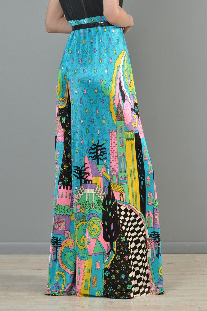 Psychedelic 1970s Rainbow Cityscape Jumpsuit | BUSTOWN MODERN