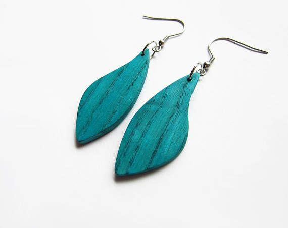 Wooden earrings blue earrings green earrings turquoise