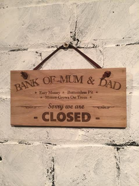Bank of Mum & Dad - Easy money, bottomless pit... Shabby chic style wooden wall plaque sign. Gift, wall hanging decoration stocking filler. by EngraviaDigital on Etsy