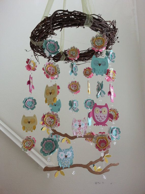 Owl and Flower Baby Mobile by magicalwhimsy on Etsy, $80.00 pottery barn style.  owl nursery