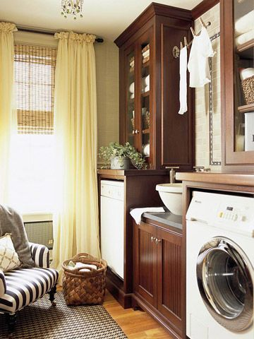 Custom Storage creats a nice organized space in the laundry room!