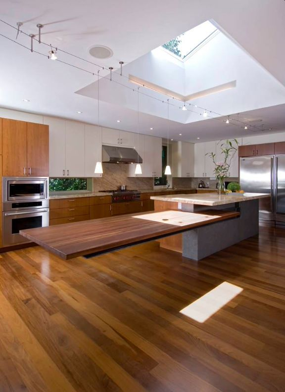Extraordinary Kitchens With Cantilevered Islands Kitchen Island And Table Combo Custom Kitchen Island Contemporary Kitchen Island