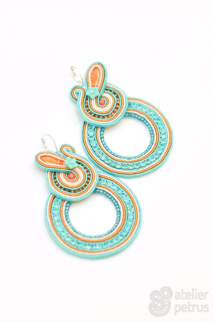 Sea side - handmade soutache earrings
