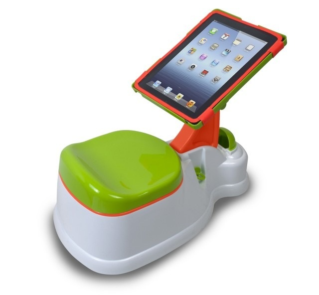 A new product for parents of children being potty trained features a little toilet and an iPad docking station -- the iPotty.