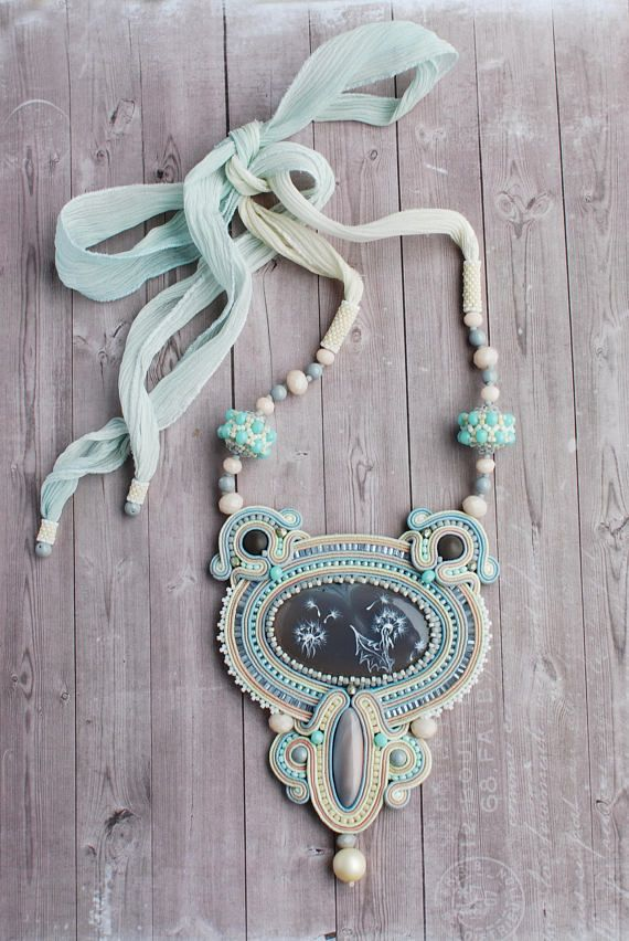 Soutache necklace, Grey, mint and beige necklace with agate, Embroidered pastel pfgendant, Beaded necklace, Soutache jewelry, FREE SHIPPING