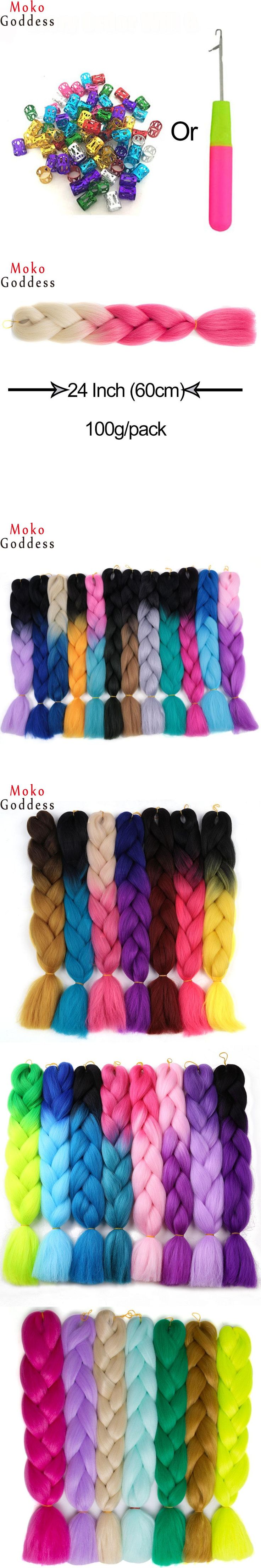 Ali MoKoGoddess Hair Products Ombre Braiding Hair Extensions 24 Inch 100g/pc Synthetic High Temperature Fiber Jumbo Braids