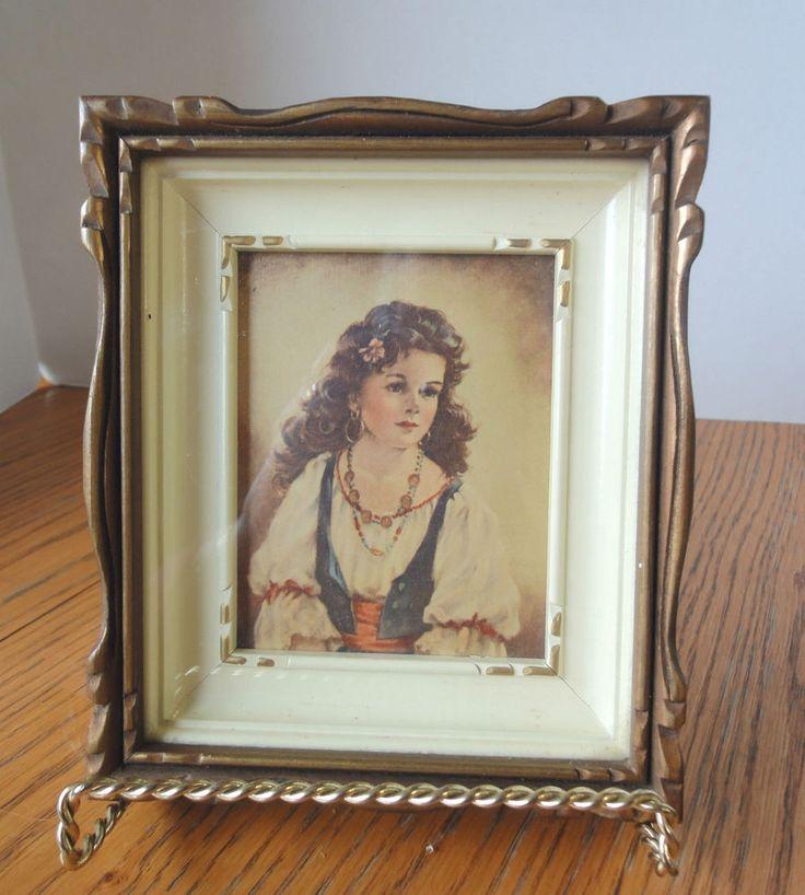 "Vintage Wood Frame With Carved Gilt Trim Inset Frame within Frame Lovely 7"" x 6"""