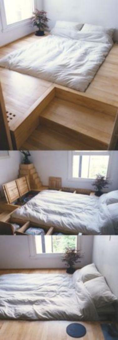 Une chambre aménagée en lit avec rangement