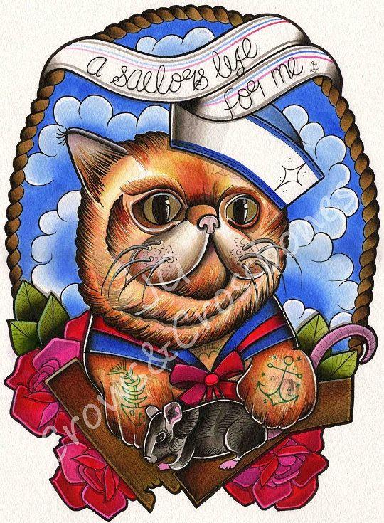 Une vie de marins pour moi - chat polydactyle - A3 Tattoo Art Print