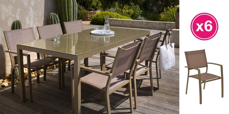 Salon de jardin: Table FAUGERE 2M + 6 fauteuils FAUGERE - Zoom