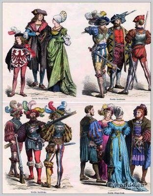 Renaissance mode.  Duitse huurlingen kostuum.  Duits staatsburger jurk.  Münchener Bilderbogen.