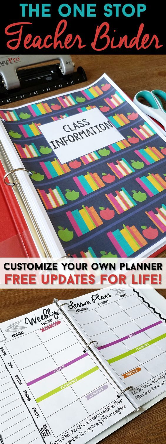 Teacher binder organization just got better! This One Stop teacher binder has everything you need for classroom organization. This teacher plan book has lesson plan templates, 60+ planner covers to choose from, lots of classroom forms, calendars, and more! Love that it is EDITABLE with FREE updates for LIFE! Lesson plans will never be boring again! | Teacher Binder | One Stop Teacher Binder | Classroom Organization | Lesson Plan Templates | Teacher Binder Covers | Classroom Forms