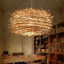 Деревянный дизайн освещения страна птичье гнездо Cany светильник бар Droplight исследование лампы висячие светильники дома фойе(China (Mainland))