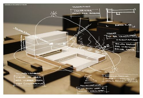 architecture-apprentice: Initial concept model set within the site model with site analysis and the designs response overlaid in white. Me...