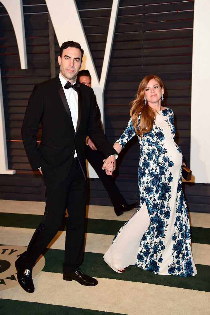 Sacha Baron Cohen with Isla Fisher in Tory Burch partying After the Oscars [Photo by Tyler Boye]