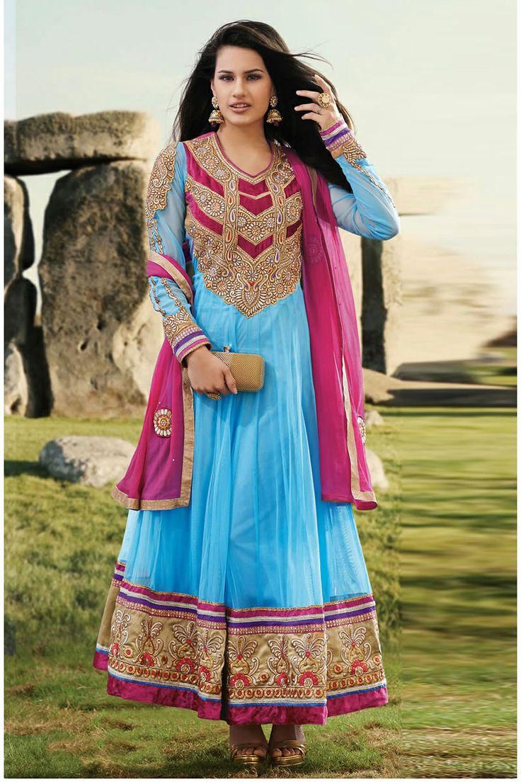 long anarkali blue salwar kameez | Long Anarkali Salwar Kameez ...