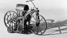 In 1885, the so-called riding car which is today regarded as the world's first motorcycle. It was built in Gottlieb Daimler's workshop as a test unit to prove the suitability of Daimler's and Wilhelm Maybach's gas or petroleum engine for everyday use.