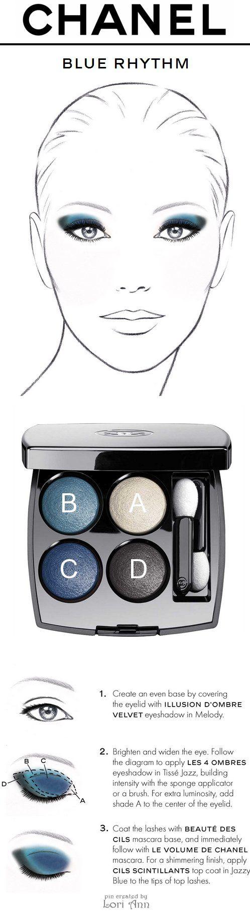 Chanel Blue Rhythm Eye Tutorial using Les 4 Ombres Eyeshadow Quad in Tissé Jazz