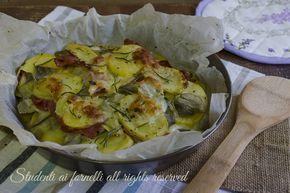 ricetta patate con carciofi e prosciutto al forno con mozzarella ricetta secondo piatto facile veloce gustoso