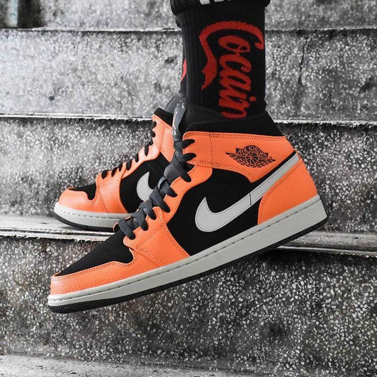 Shattered Backboard Air Jordan 1 Mid Black Orange Peel On Feet