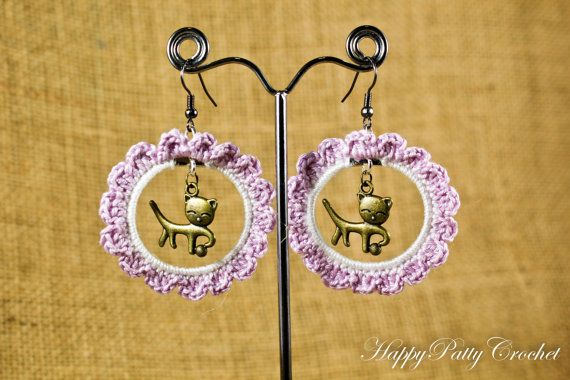 Cat in a Hoop Earrings  Crochet Earrings by HappyPattyCrochet