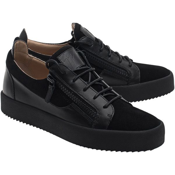 GIUSEPPE ZANOTTI May London Camoscio Nero // Leather sneakers with... ($555) ❤ liked on Polyvore featuring men's fashion, men's shoes, men's sneakers, mens black sneakers, mens black leather shoes, mens leather shoes, mens flat shoes and mens leather sneakers