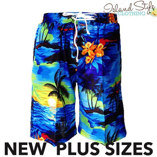 Mens Hawaiian Boardshorts Plus Sizes Blue Sunset