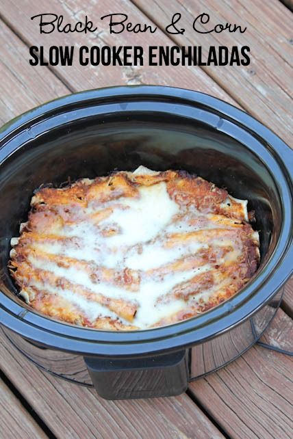7 ingredients and nothing has to be precooked in this new slow cooker recipe for Vegetarian Black Bean & Corn Enchiladas   5DollarDinners.com