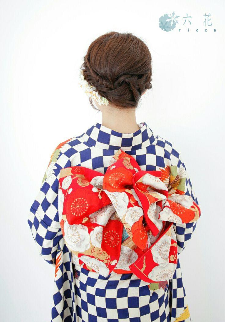 赤地の袋帯 成人式・結婚式・パーティーなど  着物レンタル・ヘアメイク・着付け・撮影