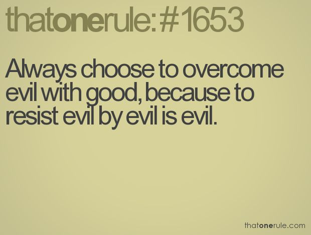 Always choose to overcome evil with good, because to resist evil by evil is evil.