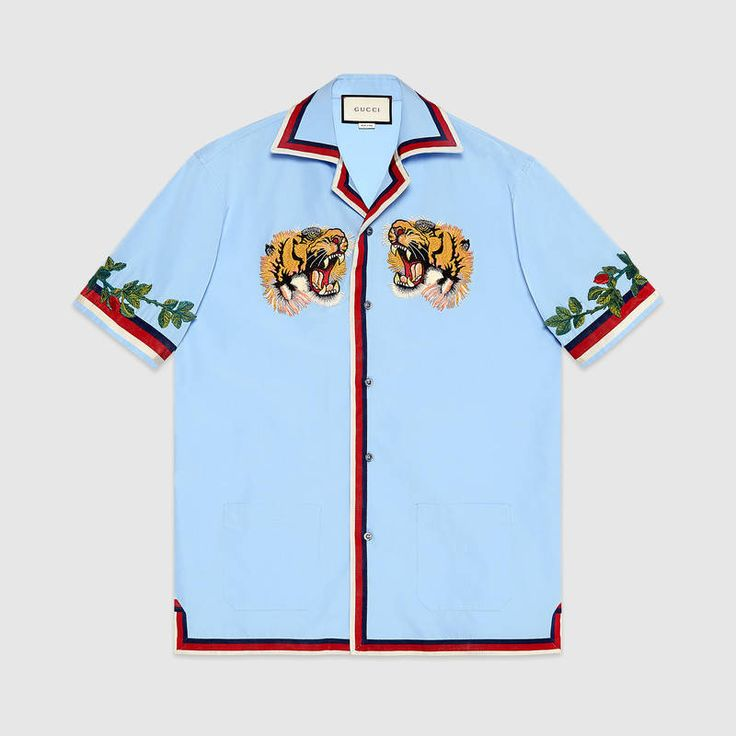 Oxford bowling shirt with embroidery