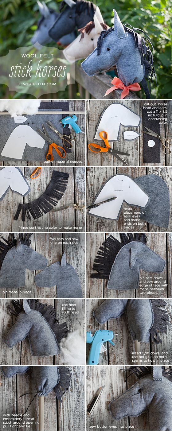Felt Stick Horse Tutorial [I believe children need rocking horses but have made my share of hobby horses when needed. Never used felt, boot socks as far as I recall. Anyway, these look pretty snazzy, don't you think? — 23-08-13]