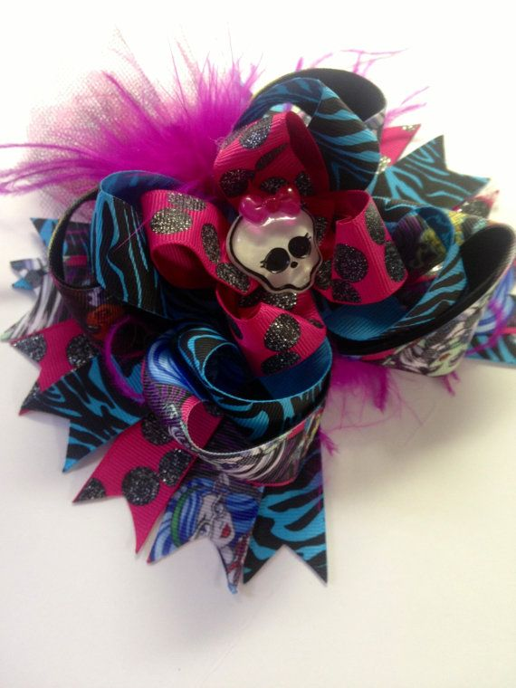 Monster High Hair Bow Inspired 6 Hair Bow by ZallistasBowtique, $16.00