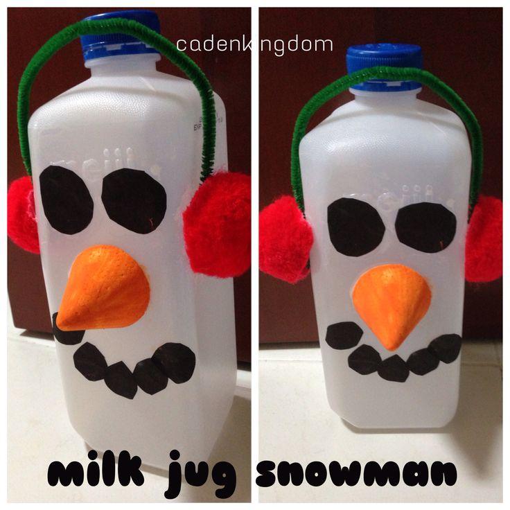 Christmas crafts milk jug snowman easy for preschoolers for Christmas crafts with milk jugs