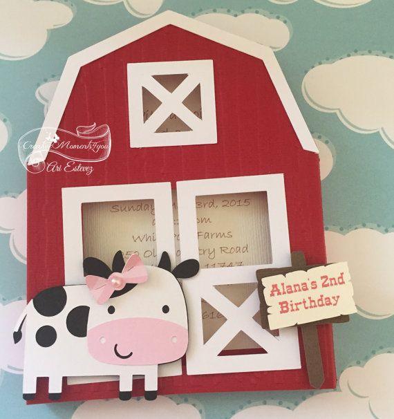 Farm / Barn Birthday Invitations / Red barn by CreativeMoments4You
