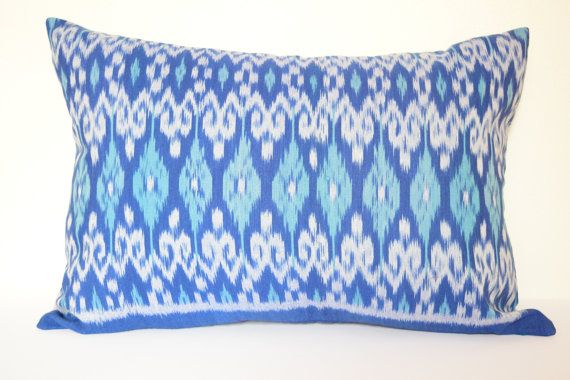 13 x 20 inches Blue White Ikat Cushion Cover Pillow by IkatPikat