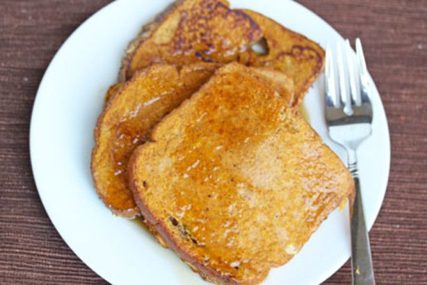 I so wish Id doubled this recipe while I was making it.  Tripled, or quadrupled even!  These were so delicious...perfect for the fall season.  Its really simple...you just add some pumpkin and spices to the egg-milk mixture.  Then make French toast as you would.