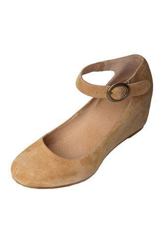 Туфли коричневые замшевые с ремешком вокруг лодыжки на танкетке » Интернет-магазин одежды на любой вкус - Trendlooker.ru