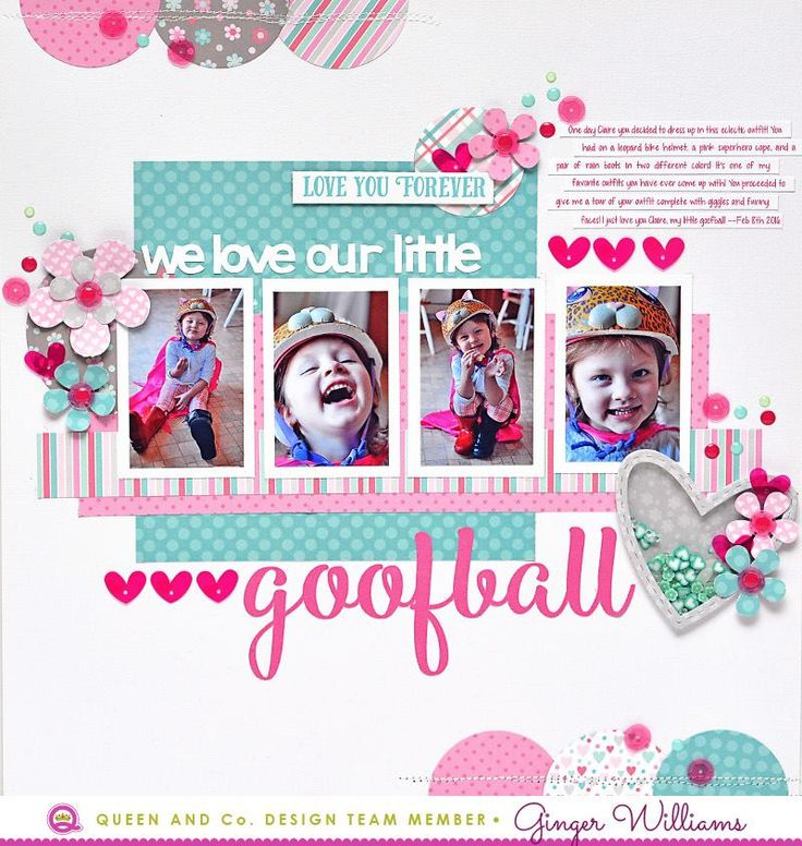 Fun scrapbook page made using Queen & Co Heart Throb Kit. Adorable shaker hearts plus fun flowers make this page perfect for anyone you love!