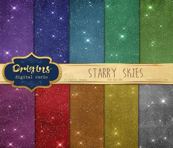 Starry Skies Digital Paper 10 Pack Premium by OriginsDigitalCurio