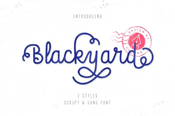 Blackyard is carefully crafted font with 2 different styles. Every single letters have been carefully crafted to make your text looks awesome. With lot of alternate glyph will make your word feel like natural hand drawn. This font can be used for quotes, poster, wedding, branding, logo, fashion, apparel, letter, invitation, stationery, etc FEATURES:  Blackyard (OTF &a