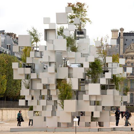 "Sou Fujimoto stacks aluminium boxes to form ""nomadic"" house installation in Paris"