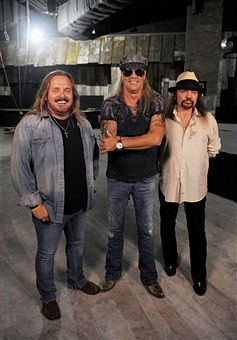 Johnny Van Zant, Gary Rossington And Rickey Medlocke From Lynyrd Skynyrd Take A Construction Tour Of Their New Restaurant, Lynyrd Skynyrd BBQ & Beer, At Excalibur Hotel & Casino