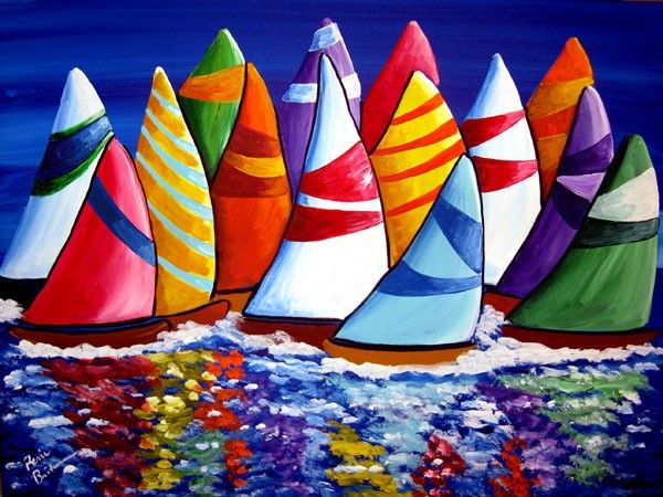 Colorful Sailboats #folkart